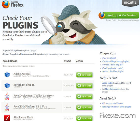 Update Firefox Plugins Fix Crashing Firefox 4 or Newer