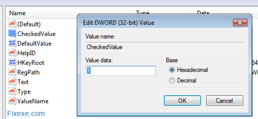 checkedvalue dword Fix show hidden files and folders problem
