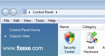control panel security center Turn off Windows Firewall in Vista