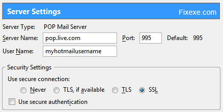 email client settings How to set up a free POP3 and SMTP for Hotmail or Windows Live?