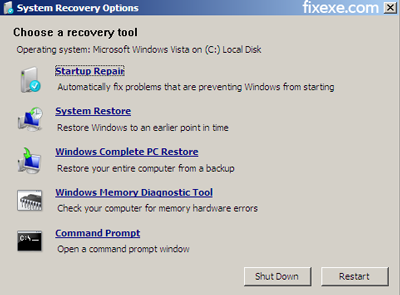 system recovery options Vista wont boot: BOOTMGR is missing