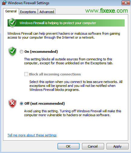 windows firewall settings Turn off Windows Firewall in Vista