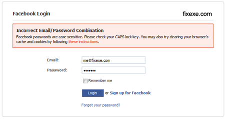 Facebook incorrect Email Password