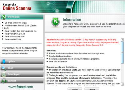 Kasperksy Online Scan